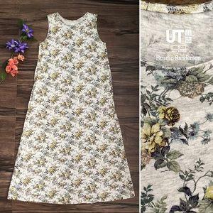 Uniqlo UT Studio Sanderson floral maxi dress, gray